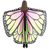 WOZOW Damen Schmetterling Schmetterlingsflügel Kostüm Faschingkostüme Schal Tuch Poncho Umhang für Party Cosplay Karneval Fasching (Rosa Grün)