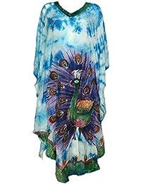 Robe Longue Tie Dye Kaftan Paon Peint JK-1942 Turquoise