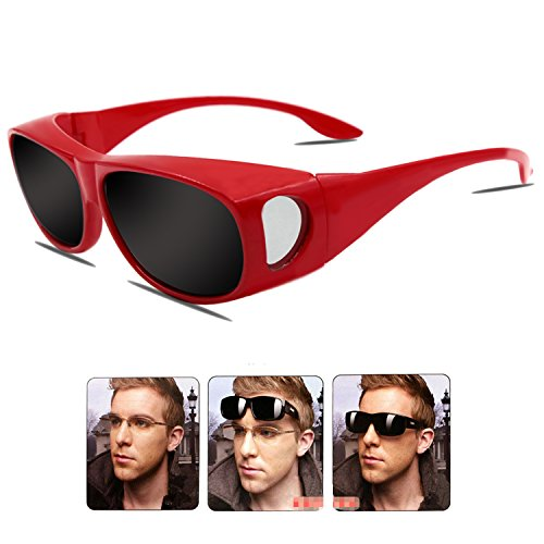 Sonnenbrille Überziehbrille für Brillenträger Brille Herren Damen {Polarisiert Sonnenüberbrille über normale Brillen},UV400 sunglasses Fit Ove Rx Glasses (Red1)