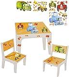 Unbekannt 3 TLG. Set: Sitzgruppe / Sitzgarnitur für Kinder - sehr stabiles Holz -  Bagger / Traktor & Auto  - Tisch + 2 Stühle / Kindermöbel für Jungen & Mädchen - Ki..