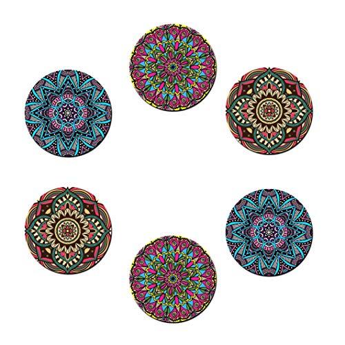 Posavasos Redondos Paquete de 6 Piezas Aislamiento Térmico para Tazas Jarras Vasos y Botellas con Decoraciones Flores Boho Mandala y Pintura Oriental Estilo Bohémico (Diámetro 9 cm)