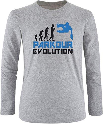 EZYshirt® Parkour Evolution Herren Longsleeve Grau/Schwarz/Blau