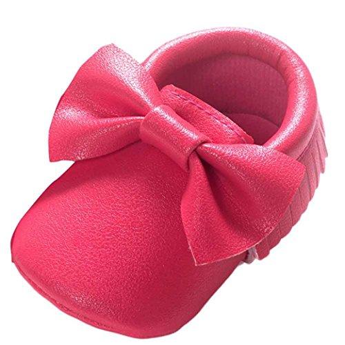 Turnschuhe Babyschuhe Neugeborenen Solekleinkind Mädchen Tanzschuhe Leder T-Strap Schuhe Lauflernschuhe Mädchen Krabbelschuhe Streifen-beiläufige Wanderschuhe LMMVP (Hot Pink, 12 (6~12 Monate))