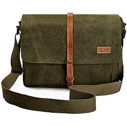 ZLYC Bolso de cámara acolchada extraíble de cuero y lienzo retro genuine de vendimia, bolso de hombro de mensaje para DSLR cámara y lente, verde del ejército