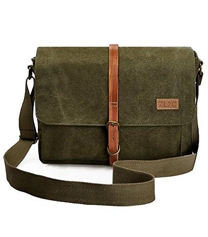 ZLYC Unisex Vintage Genuine Leather and Canvas Camera Bag Messenger Bag for DSLR Camera and Lens (Green)