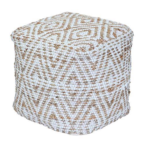 Homescapes handgewobener Chindi Sitzpouf - Sitzkissen mit geometrischen Muster, Diamant, Hanf, Beige...