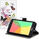 kwmobile Wallet case Custodia a portafoglio per LG L Fino - Custodia flip cover in Design farfalle hippy con scompartimento tessere e funzione supporto in multicolore fucsia bianco