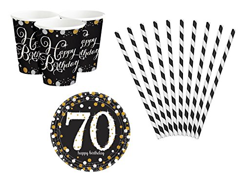 Feste Feiern Geburtstagsdeko Zum 70 Geburtstag I 26 Teile All In One Set Becher Teller Strohhalme Gold Schwarz Silber Party Deko Happy Birthday (Geburtstag 70. Teller)