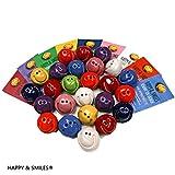 Smiley bunt 27 Stück handmade aus Ton