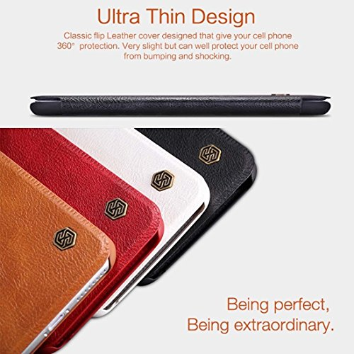 NILLKIN QIN Serie für iPhone 6 Plus & 6s Plus Business Style Solid Farbe Horizontale Flip Stand Ledertasche Cover mit Card Slot by diebelleu ( Color : Brown ) Black
