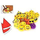 DSstyles EMOJ Llaveros graciosos y blandito felpa emoticono iconos llavero 6cm (Set de 18 pcs)