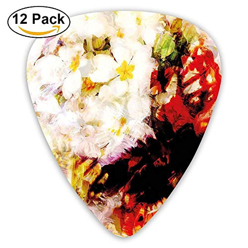 Flower Garden With Orchids Roses Jasmines And Butterflies Abstract Guitar Picks 12/Pack Set -