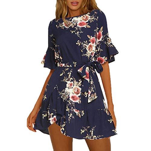 Anglewolf Kleid Damen Strandkleider Sommerkleider Casual Minikleider Kurzes Blumenkleid V-Ausschnit Lässig Sommer Abendkleid (Iron Fist Kostüm Weiß)
