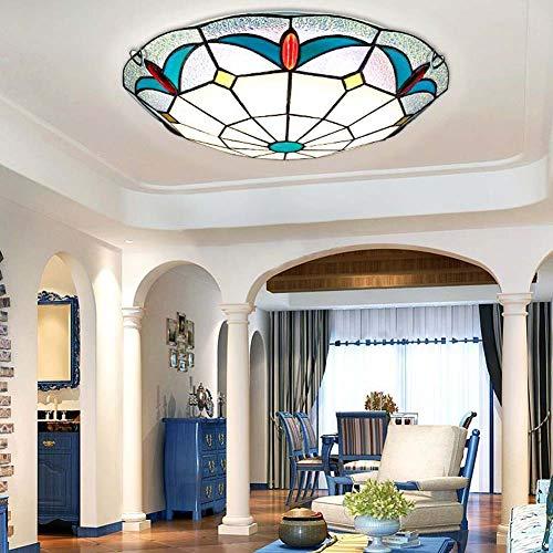 XNCH Deckenleuchte Tiffany-Stil Deckenlampe Glas Tondo/Vitrine Europea Creativa Einbaustrahler Marmor für Wohnzimmer 16 Zoll -