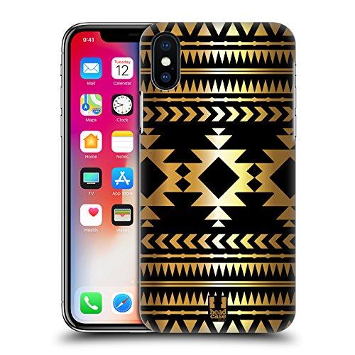 Head Case Designs Albero Stampe Oro Azteche Cover Retro Rigida per Apple iPhone X Diamante