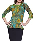 Green Printed 3-Button Women's Cotton Top - Unique Fashions for Women - Artisan Made in India