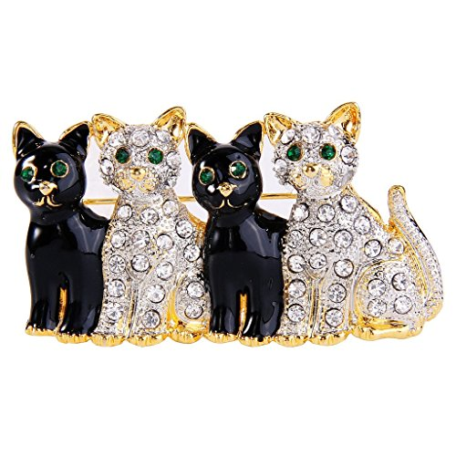 EVER FAITH? cristallo smalto nero 4 adorabile cucciolo Pet Spilla Pin animale trasparente Gold-Tone delle donne