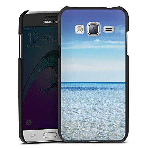 Samsung Galaxy J3 2016 Lederhülle schwarz Leder Case Leder Handyhülle Horizont Meer Mer