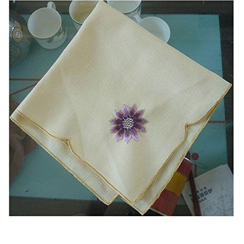 ZHFC european brodés serviette mouchoir pad mat sun fleur multicolor 40 * 40 cm 1,Violet,40 × 40 cm.