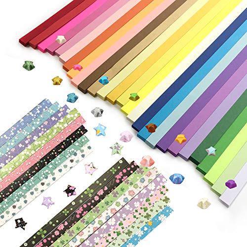 Wartoon Origami Sterne Papier doppelseitig und Blume Vierblättriges Kleeblatt Papier Set, 3 Styles, 43 Farben, 2150 Streifen