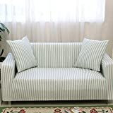 HYSENM 1/2/3/4 Sitzer Sofabezug Sesselbezug Bambus-Baumwolle unempfindlich rutschfest anti-Pilling , Blau+Weiß 1 Sitzer 85-140cm