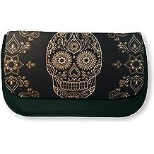 Trousse noire de maquillage ou d école Tête de mort mexicaine Baroque    sugar skull 22b0abacd2b