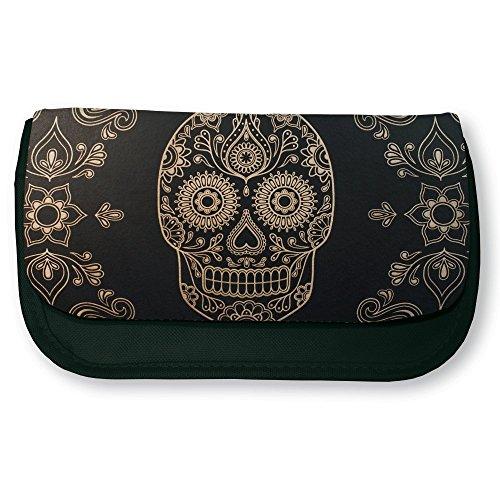 Trousse noire de maquillage ou d'école Tête de mort mexicaine Baroque / sugar skull - Fabriqué en France - Chamalow shop
