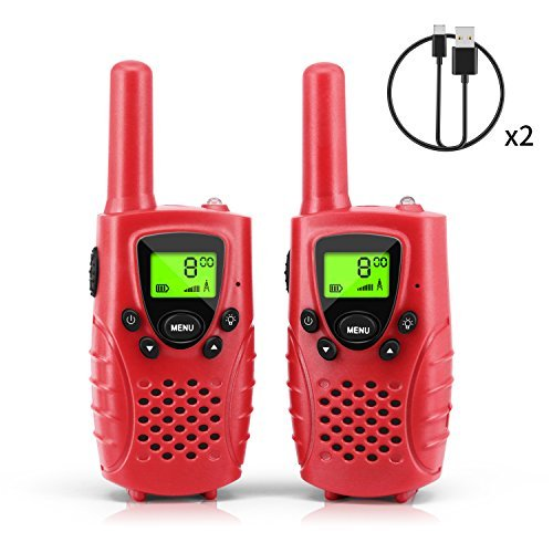 Waitiee 2pcs Walkie Talkie für Kinder 0,5W 8 Kanäle VOX Taschenlampe Funkgeräte Gürtelclip mit LCD Display flashlight Lock-Screen-Funktion Walki Talki Rot (RED) Spy Mp3