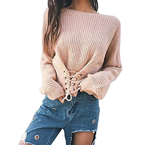 Longwu Fashion Women's Solid Batwing Sleeve Bandage Blouse Knit Lace Up Jumper Pullover Sweater(XS-M) Apricot