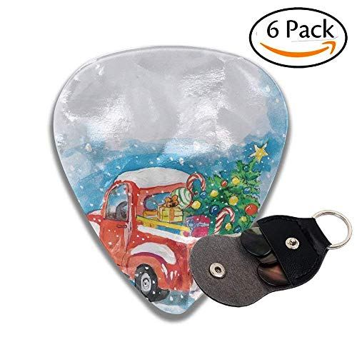 Vintage Red Truck In Snowy Winter Scene With Xmas Tree And Gifts Candy Cane Stylish Celluloid Guitar Picks Plectrums For Guitar Bass .6 Pack 71mm