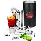 Barman's Barware Kit de bar@drinkstuff | Juego de regalo de cóctel con cóctel de Boston Tin & Glass, Jigger Measure, Muddler, cuchara de mezcla torcida, Pourers, colador de coctel de Hawthorne, colador de cóctel de Julep y cóctel cónico