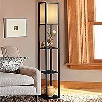 Iluminación interior 1,6m lámpara de suelo de madera con estantes para diseño de dormitorio y sala de estar (sin bombilla)