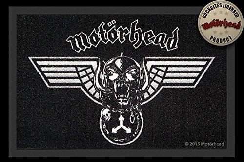 –Felpudo (60x 40cm, antideslizante, diseño a elegir, (con pequeño regalo gratuito), poliamida, Motörhead - Winged Warpig - Schwarz, 40 x 60cm
