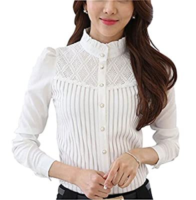 Women's Chiffon Vintage Stand Collar Button Down Shirt Long Sleeve Lace Blouse with Stretch