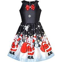 Sunny Fashion Robe Fille Noël Veille Noël Arbre Neige Renne Partie 7-14 ans