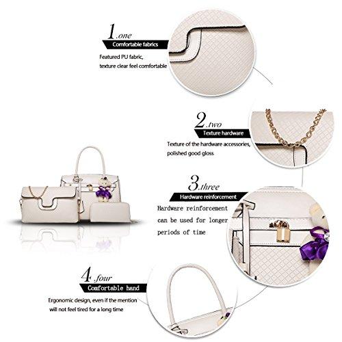 Sunas Sacchetto di spalla + borsa + borsa di spalla del sacchetto delle donne di tre pezzi di modo della borsa delle donne di estate 2017 bianco
