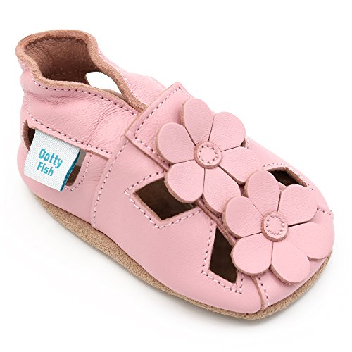 Dotty Fish Soft Leather Baby Shoes with Suede Soles. Girls Pink Sandals with Flowers. 2-3 Years