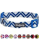 Blueberry Pet Ethno Muster Inspiriertes Atemberaubendes Zigzag Hundehalsband, Marineblau, S, Hals 30cm-40cm, Verstellbare Halsbänder für Hunde