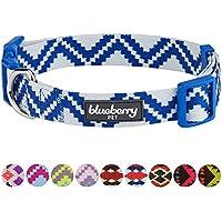 [Gesponsert]Blueberry Pet Ethno Muster Inspiriertes Atemberaubendes Zigzag Hundehalsband, Marineblau, S, Hals 30cm-40cm, Verstellbare Halsbänder für Hunde