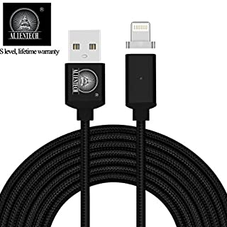ALTech 1 Pack Black Strong Magnetic Nylon Braided Charging And Data Transfer Sync Cable With LED Indicator Apply for iphone 5 5s 6 6s 7 7P 2M