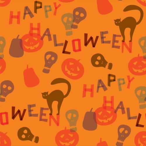 Berlintapete - Wallpaper On Demand - Designtapete - Seasonal - Orange-farbenes Halloween Muster Nr. 13585 (Orange Halloween Wallpaper)