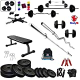 BODYFIT Deluxe Home Gym Combo Flat Bench with 30 KG Weight Plates 4