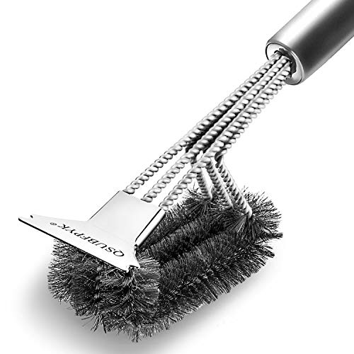 "QSUBFPYK Scraper Grill Brush, 18"" Best BBQ Cleaning Brush - Stainless Steel 3-in-1 BBQ Cleaning Brush provides easy cleaning, full stainless steel handle, great BBQ tool"