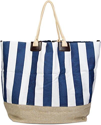 styleBREAKER große XXL Strandtasche mit maritimen Streifenmuster, Schultertasche, Shopper, Badetasche, Damen 02012061, Farbe:Braun-Weiß-Marine (Gestreifte Strandtasche)