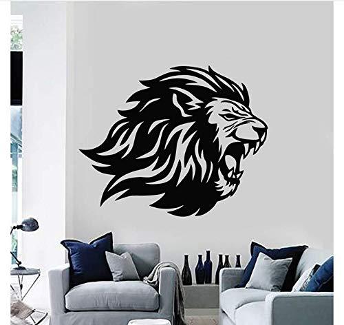 wütend löwenkopf raubtier könig stammestier aufkleber wand wohnzimmer wanddekoration 52x42 cm ()