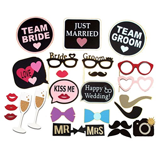 OULII Foto stand puntelli 26pcs Kit fai da TE per riunioni di partito matrimonio compleanni Photobooth Dress-up accessori favori di partito, decorazione di festa di maschera barba sposa sposo - Partito accessori