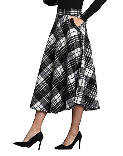 Tribear Damen Vintage Winter Herbst tartan mit hoher Taille flared röcke knielange Kleider (M/EU 34, Schwarz) (Herbst Tartan)