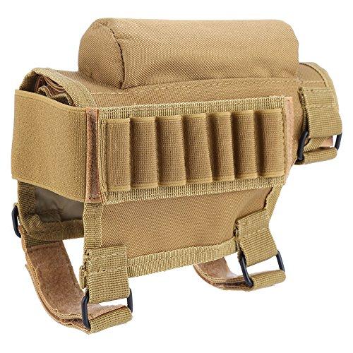 Gewehrschaft Tasche Taktischer Hinterschaft Schale Tragbar Einstellbar Wangenauflage Beutel Halter (Khaki) (Tactical Munition Shotgun)