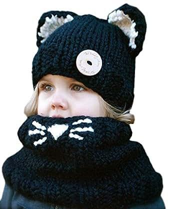 Bigood 1Série Bonnet Cache Cou Enfant Tricot Déguisement Minion Chapeau Oreille