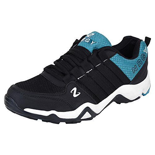 NRGY Pro Performance Hiking & Trekking Sport Shoes for Men (BLACK :: CYAN)